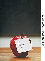 nota, lavagna, mela, scrivania, rosso