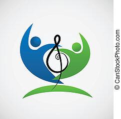 nota, logotipo, lavoro squadra, musicale