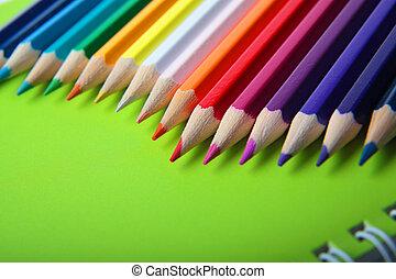 nota, matite, multicolor, libro, luminoso