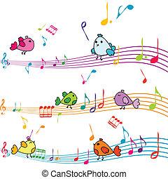 nota, musica, canto, uccelli, cartone animato