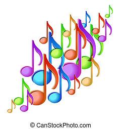 nota, musica, fondo, design.