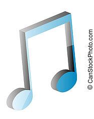 nota, musicale, 3d