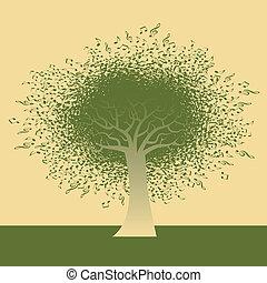 nota musicale, albero, astratto