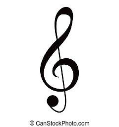 nota musicale, g-clef, isolato