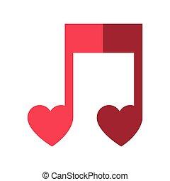 nota, musicale, icona