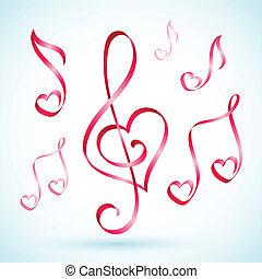 nota, nastri, musicale