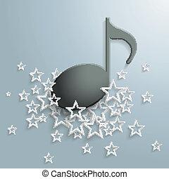nota, nero, bianco, musica, stelle