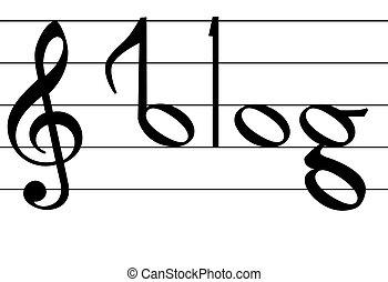 nota, parola, simbolo, blog, disegno, musica