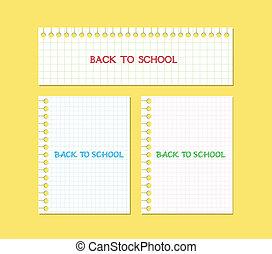 nota, scuola, carta, indietro