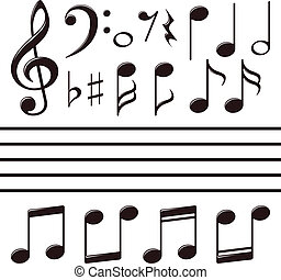 nota, set, vettore, musica, icone