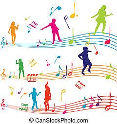 nota, silhouette, bambini, musica, ballo