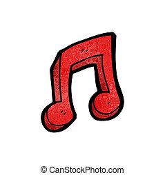 nota, simbolo, cartone animato, musicale
