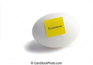 nota, testo, carta, pensionamento, uovo, giallo