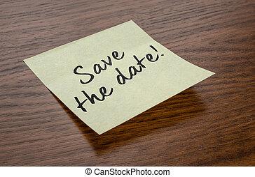 nota, testo, risparmiare, data, appiccicoso