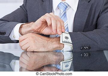 nota, togliendo, businessperson, banca, manica