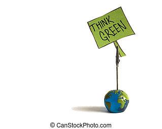 nota, verde, pensare
