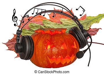 note, appassito, arancia, foglia, acero, zucca, ardendo, occhi, cremisi, quercia, halloween, fondo, musica, festeggiare, giorno