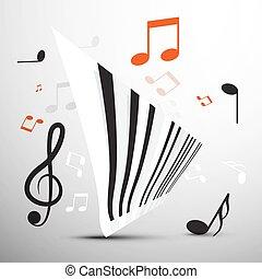 note., astratto, simbolo., vettore, musica, tastiera, pianoforte