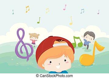 note, bambini, musica, gioco, illustrazione