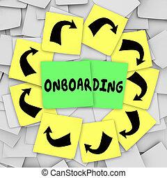 note, benvenuto, introdurre, appiccicoso, onboarding, impiegato, nuovo