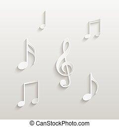 note, carta, musicale, illustrazione