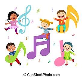 note, cartone animato, bambini, musica
