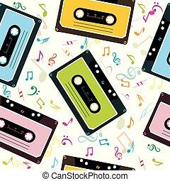 note, cassette, nastro, fondo, audio, musicale