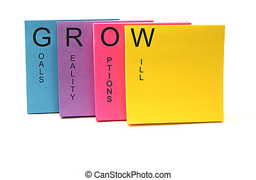 note, concetto, crescere, appiccicoso