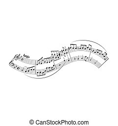 note, doga, elemento, disegno, forma, bianco, onda, musicale