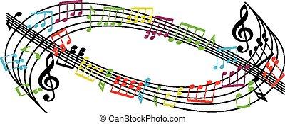 note, fondo, musica, musicale