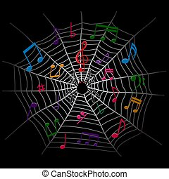 note, fondo, ragno, scuro, web, musica