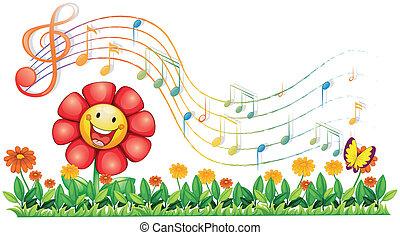 note, giardino fiore, rosso, musicale