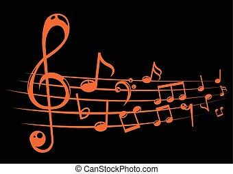 note, lines., vettore, illustrazione, fondo, personale musicale