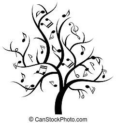 note musica, albero, musicale