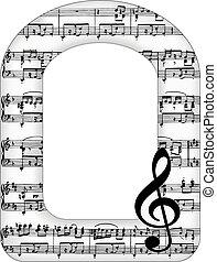 note musica, arco, cornice, immagine
