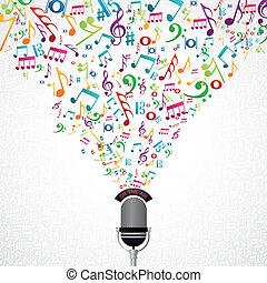 note musica, disegno, microfono
