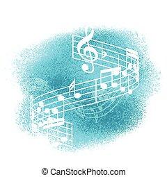 note, musica, fondo, watercolour, 1707