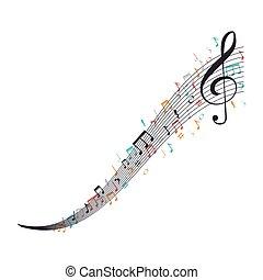 note, musica, isolato, icona