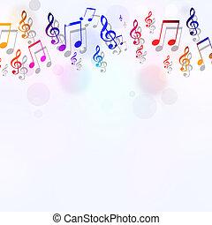 note, musica, luminoso, fondo