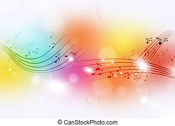 note, musica, multicolor, fondo