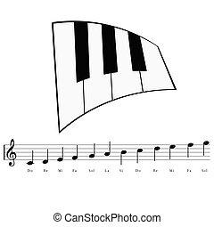 note, musica, pianoforte, illustrazione, icona