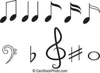 note, musica, set