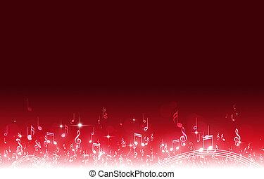 note, musica, sfondo rosso