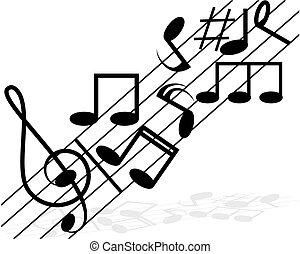 note musica, solide, sfondo bianco
