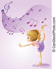note, musicale, ragazza, ballo