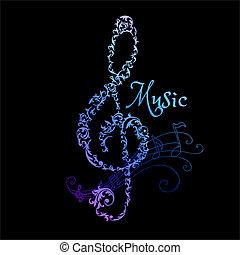 note, -, musicale, vettore, fondo, astratto