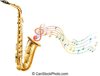note musicali, dorato, sassofono