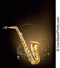note musicali, sassofono