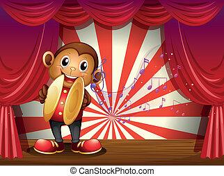note, palcoscenico, scimmia, cembali, musicale