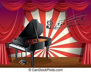 note, pianoforte, musicale, palcoscenico